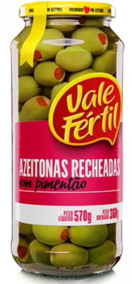 AZEITONAS VERDES RECHEADAS COM PIMENTÃO - 360G - Vale Fértil