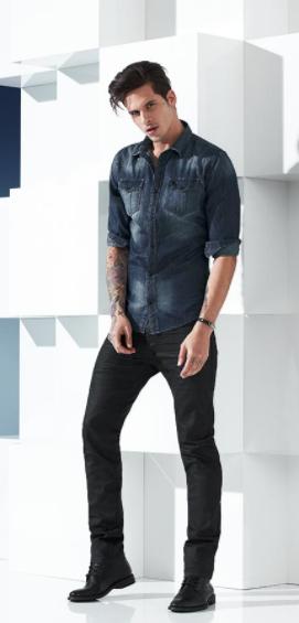 Camisa Jeans Masculina - Acostamento